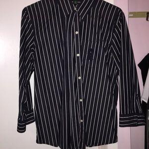 Ralph Lauren navy blue pinstriped blouse